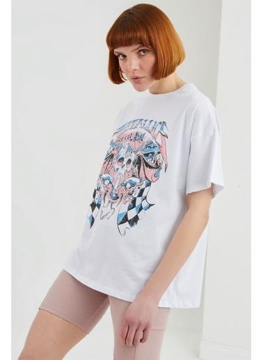 Z Giyim Yuvarlak Yaka Baskılı Oversize T-shirt Beyaz